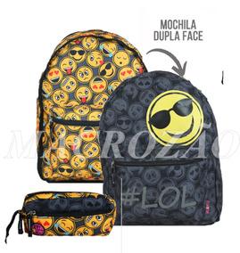 55bf75094 Kit Inf Emoji Dupla Face Mochila Md9164j + Estojo Md9166f