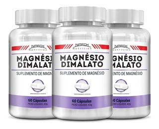 3x Magnésio Dimalato Puro - 180 Cápsulas - Promoção