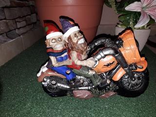 Decoración Halloween Calaveras En Motocicleta Con Luz.