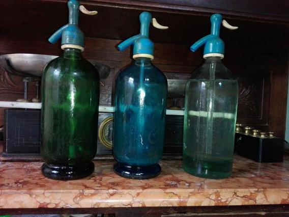 Antiguos Sifones Soda De Vidrio Azul Verde Gris