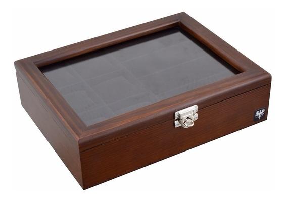 Porta Caixa Estojo Para 6 Relógios E 4 Óculos Madeira Maciça