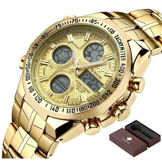 Relógio De Pulso Masculino Wwoor 8019m Original Dourado