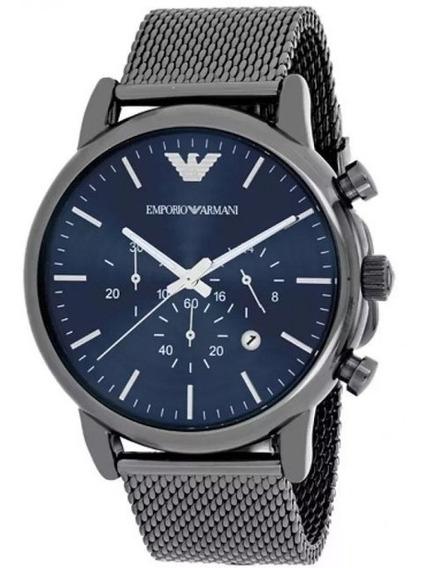 Relógio 0007g Empório Armani Ar2453 Azul Puls. Aço C/ Caixa