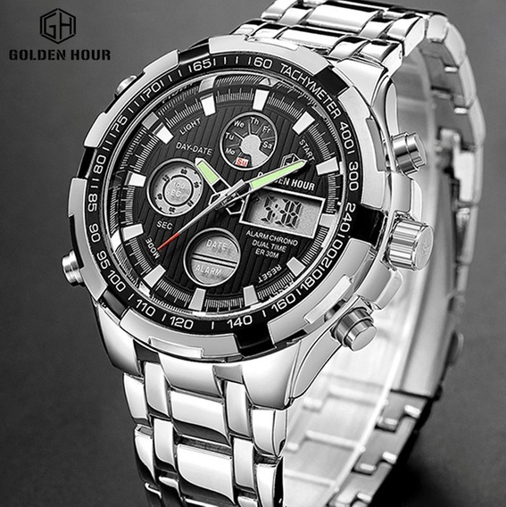 Relógio Masculino Golden Hour Militar Ponteiro Luminoso W1