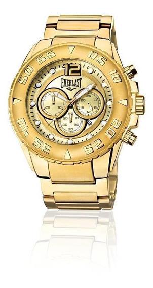 Relógio Pulso Everlast Masculino Cronografo Aço Dourado E631