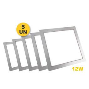 Kit 5x Plafon Painel Quadrado Led Slim 12w Branco Puro