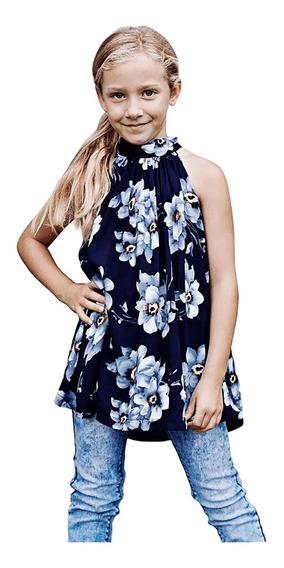 Bluson Niña Infantil Cuello Halter Estampado Floral 25095