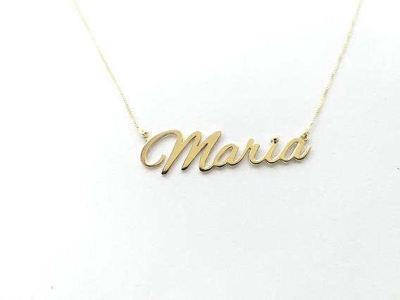 *promoção* Colar Nome Personalizado Prata Com Banho De Ouro