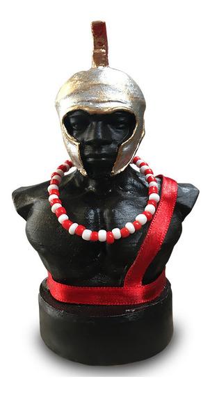 Busto Orixá Ogum 13cm Em Resina E Tecido Fino Acabamento