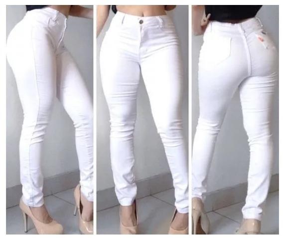 Calça Jeans Feminina Cós Alta Branca Linda Frete Grátis