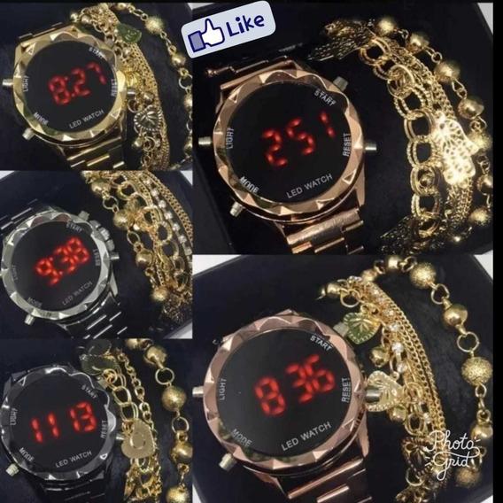 Kit Com 10 Relógios Digital Feminino+pulseiras Atacado Lote