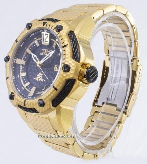 Relógio Invicta 28005 Dourado Aço Inoxidável Banhado A Ouro 18k Dial Preto Automático 53mm Masculino - Subaqua