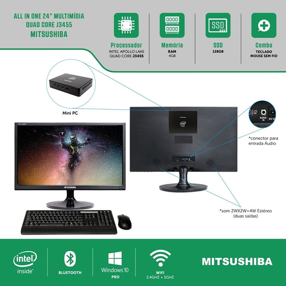 All In One 24 Celeron Quad Core J3455 4g Ssd128g Pro