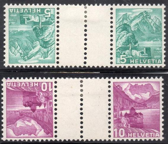 Suiza 1937. 2 Pares Tête-bêche C/entrecinta 5+10r Paisajes