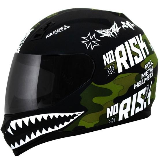 Capacete Norisk Ff391 Ride Hard Preto Fosco Verde Camuflado