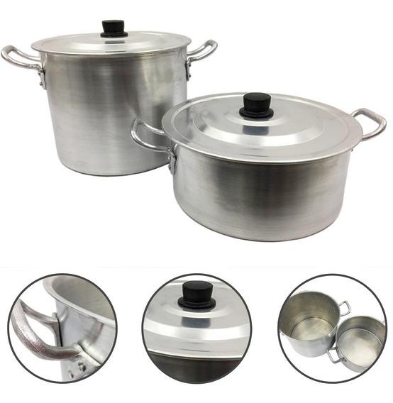 Jogo Caldeirão + Panelão Alumínio Panela Feijoada Sopa N26