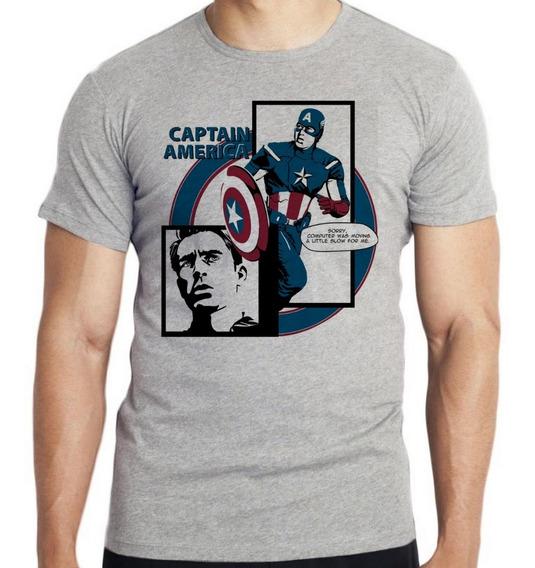 Camiseta Infantil Kids Capitão América Computer Marvel Heroi