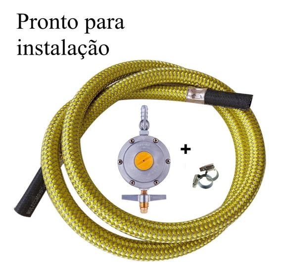 Mangueira Gas 5,0 Mt Botijao Tranca Inox Registro 2kg/h Alia