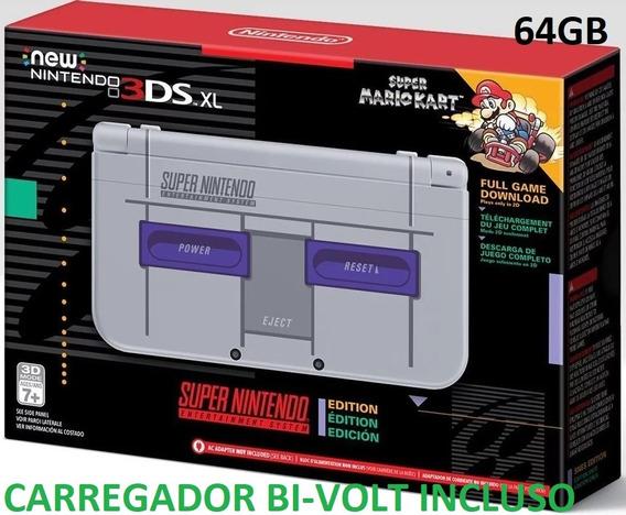 New 3ds Xl Snes 64gb + 300 Jogos Nintendo 3ds + Ds + Brindes