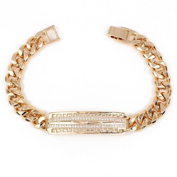 Esclava De Oro Lam. 18k Para Hombre Diamantada Y Grecas 19cm