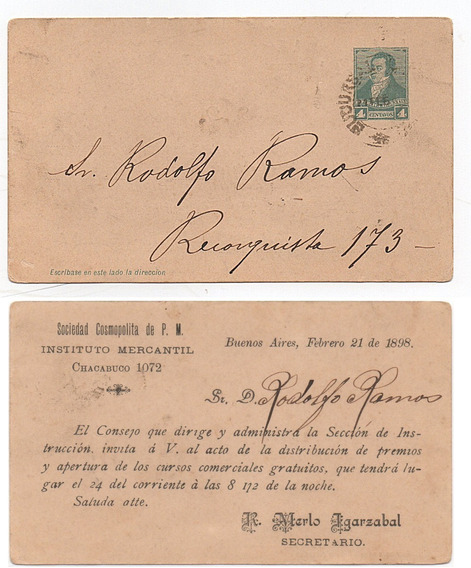 Carta Postal Invitación Evento Año 1898 Instituto Mercantil