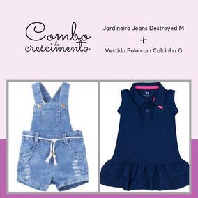 Combo Bebe Menina = Jardineira Jeans M + Vestido Polo G