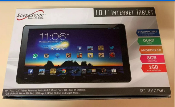 Tablet Supersonic 10.1 Android 6.0 Quad-core 8gb Sc-1010jbbt