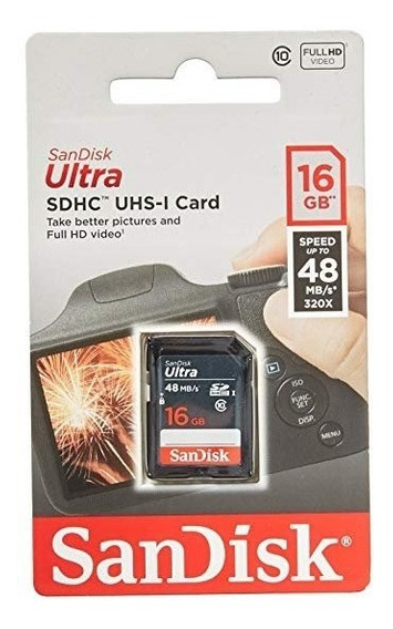 Cartão Sd Sandisk 16gb Ultra Sdhc Uhs-i Classe 10 Até 48mb/s