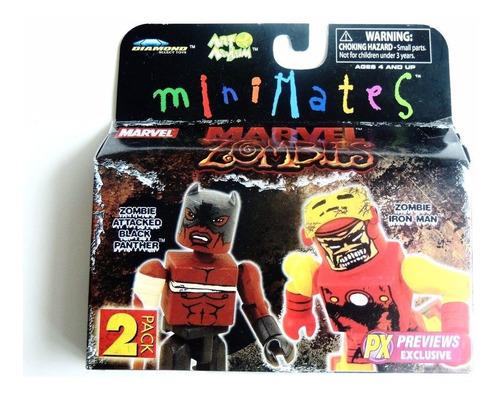 Imagem 1 de 4 de Minimates Marvel Zombies Black Panther & Zombie Iron Man