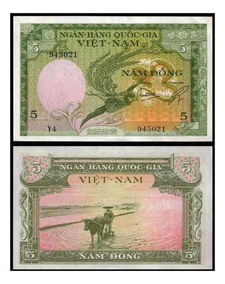 Vietnã Do Sul 5 Dong 1955 P. 2 Fe Cédula - Tchequito