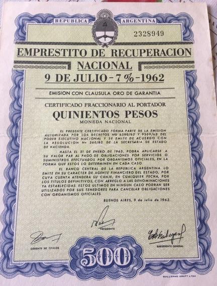 Bono Del Emprestito De Recuperacion Nacional 9 De Julio 1962