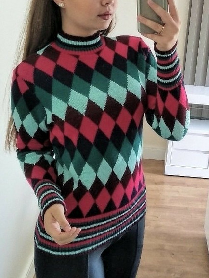 Blusa De Tricot Jackar Geometrica Feminina Inverno M Longa