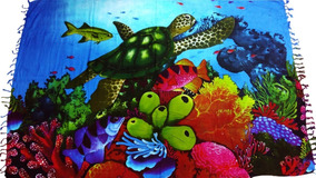 Canga De Praia Fundo Do Mar Peixes Vários Cores E Modelos