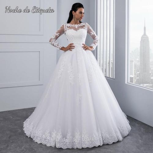 Imagen 1 de 4 de Vestido Novia Nuevo Corteprincesa Manga Larga Blanco/marfil