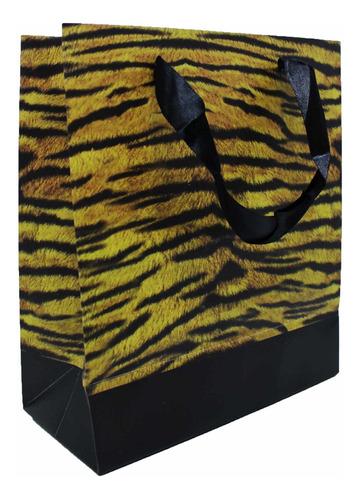 Sacola Premium Animal Print Tigre - 34x28 Cm - 12 Unidades