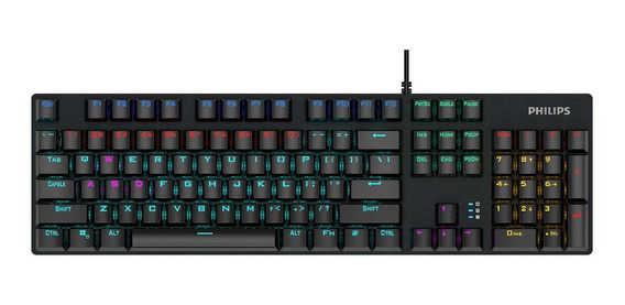 Teclado do pc QWERTY Philips SPK8404 Cian Blue inglês US preto com luz rainbow