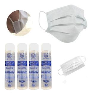 Kit 4 Álcool Em Gel 70% 40ml + 10 Mascaras Dupla Proteção