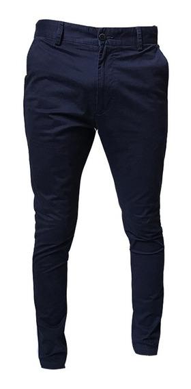 Pantalón De Hombre Bensimon Chino Rock Azul Skinny Fit