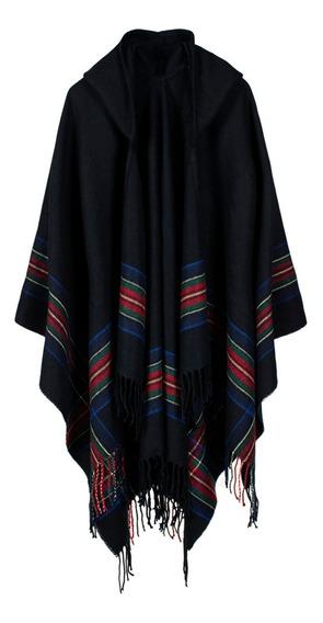Capa Poncho Con Capucha Para Mujer, Diseño De Rayas, De Gran