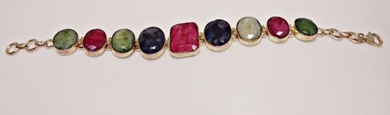 Pulseira De Prata Feminina - Pedras Naturais Coloridas