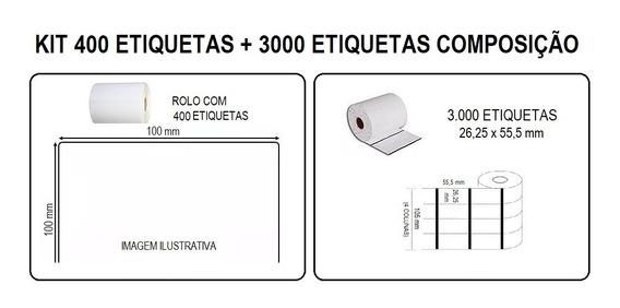 Kit Etiqueta Composição 26x55 + Adesiva 100x100 Argox Zebra