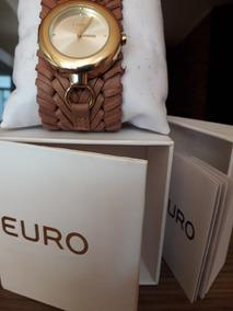 Relógio Feminino Euro - Pulseira Trançada De Couro Marrom