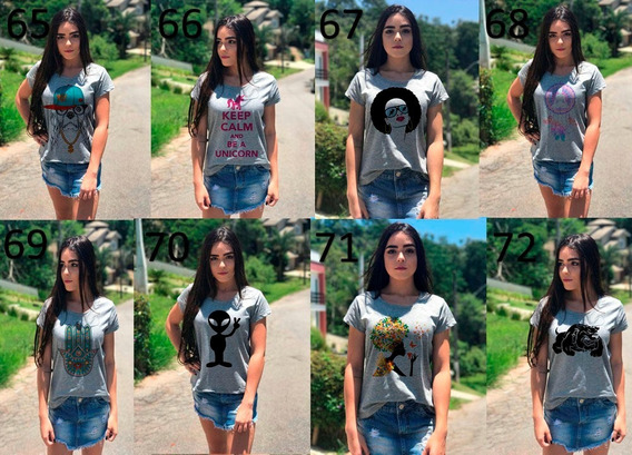 Roupas Camisetas Cinza Feminina Kit Atacado Revenda 10 Peças