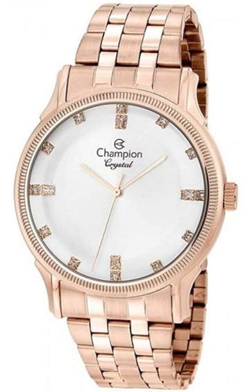 Relógio Feminino Champion Rose Vidro Abaulado Com Strass