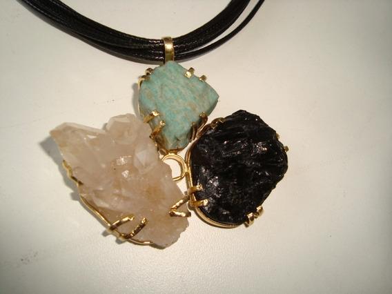 Colar Pedra Turmalina Negra, Drusa Cristal, Amazonita