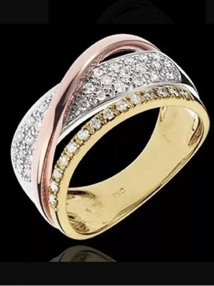 Aro 23, Meia Aliança, Ouro Branco, Rose,amarelo E Diamantes