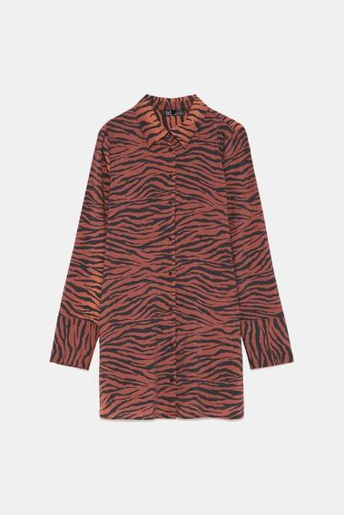 Camisa Zara Print Cebra Talle S