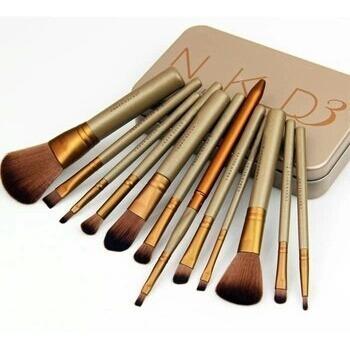 Kit 12 Pincel De Maquiagem Naked 3 Power Brush Com Estojo