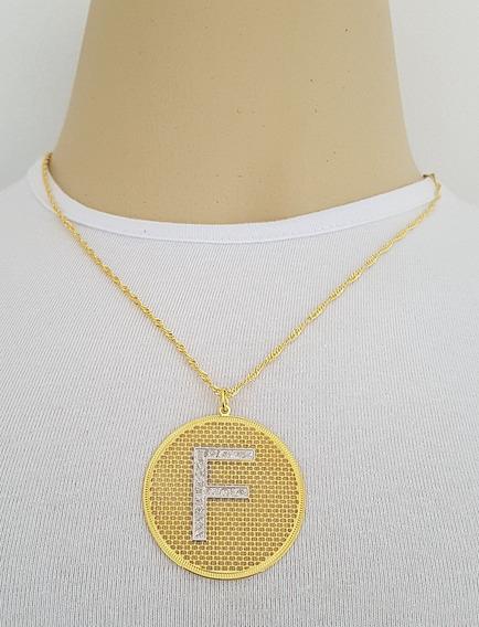 Corrente Feminina + Pingente Letra F Folheado Ouro 18k. Pf2