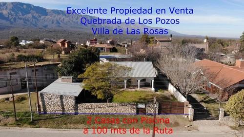 Bajamos El Precio! Excelente Propiedad En Venta, 2 Casas Con Pileta, Los Pozos, Villa De Las Rosas